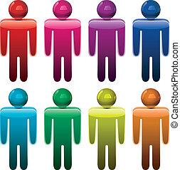 símbolos, macho, coloridos, vetorial