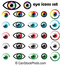 símbolos, olhos, jogo, ícones