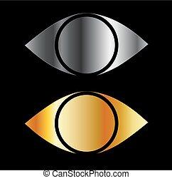 símbolos, olhos, ouro, jogo, sil