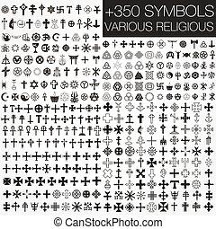 símbolos, vário, 350, vetorial, religio