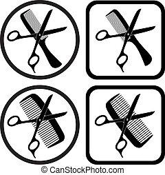 símbolos, vetorial, cabeleireiras