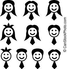 símbolos, vetorial, macho, cara fêmea