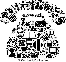 símbolos, vetorial, telefone