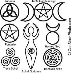 símbolos, wiccan, jogo