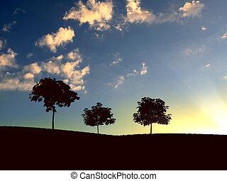 só, árvore, horizonte