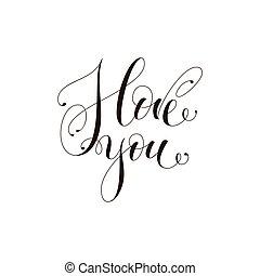 s, frase, tu, branca, amor, modernos, day., isolado, calligraphy., postcard., escova, illustration., experiência., tinta, valentine