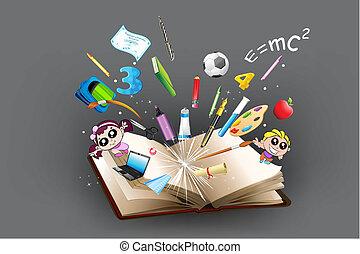 saída, objeto, educação, livro, vinda