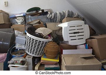 saída, pilha, casa, sala, necessidades, lar, hoarder, tranqueira, equipamento, clareira