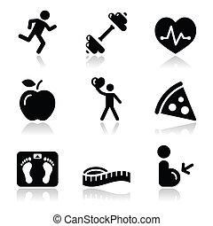saúde, ícone, pretas, limpo, condicão física