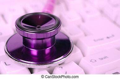 saúde, estetoscópio, femininas, cuidado