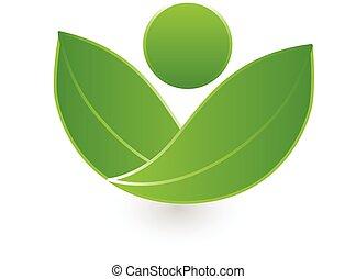 saúde, folheia, logotipo, verde, natureza