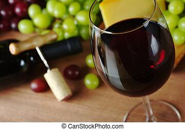saca-rolhas, queijo, garrafa, glass), frente, foco, cortiça, vidro, foco, borda, fundo, (selective, uvas, vinho tinto