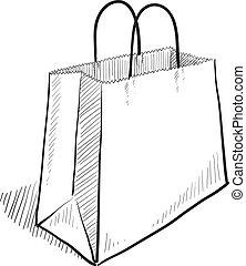 saco, esboço, shopping