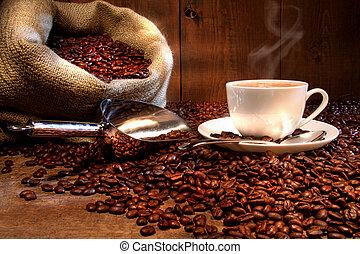 saco, feijões, copo, assado, burlap, café