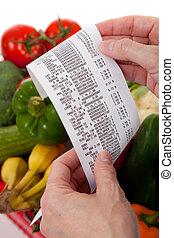 saco, mercearia, recibo, sobre, legumes