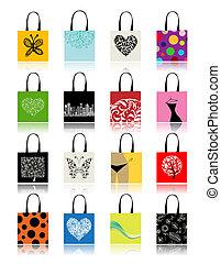 sacolas, desenho, jogo, shopping, seu
