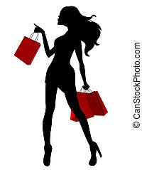 sacolas, mulher, silueta, jovem, preto vermelho