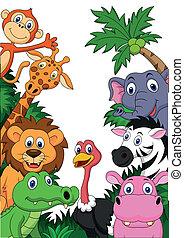 safari, animal, fundo, caricatura