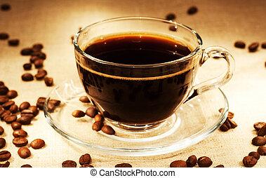 saking, feijões, ainda-vida, escuro, café
