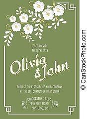 sakura, padrão, convite, card., cartão, seamless, fundo, casório, text., vetorial, flor, quadro, elegante