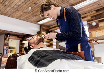 salão, trimmer, corte, barbeiro, homem, barba