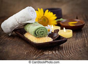 sal, jogo, natural, copyspace, dayspa, marrom, wellness, natureza, sunflower.., banho, massager, armando, velas, spa, toalha