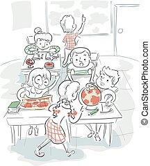 sala aula, crianças, geografia ilustração