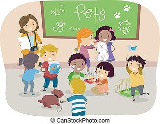 sala aula, crianças, stickman, animais estimação