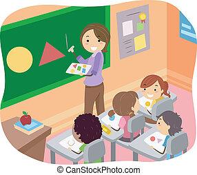 sala aula, crianças, stickman, ilustração, formas, aprendizagem