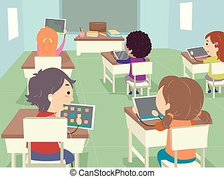 sala aula, crianças, stickman, tabuleta, ilustração