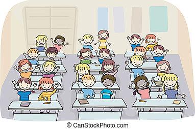 sala aula, crianças, vara