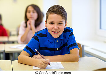 sala aula, escola brinca, grupo, escrita, teste