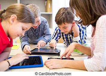 sala aula, escola brinca, grupo, pc tabela