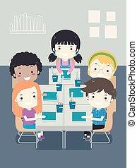 sala aula, escola brinca, ilustração, assento, estudante