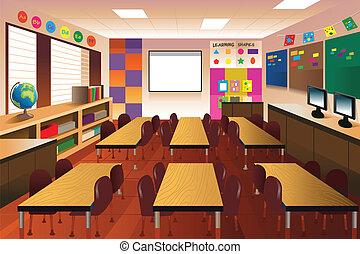sala aula, escola elementar, vazio