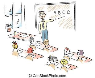 sala aula, escola, vetorial, crianças, professor