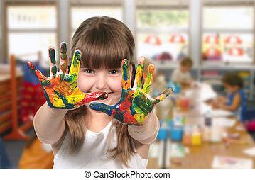 sala aula, jardim infância, quadro