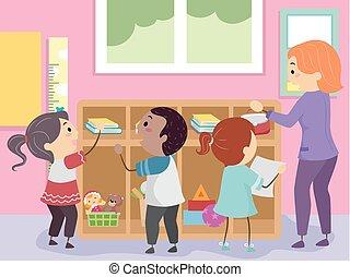 sala aula, organize, stickman, ilustração, crianças