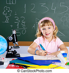 sala aula, pequeno, escola, microscópio, menina, crianças
