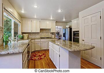 sala, combinação, ilha, armazenamento, branca, cozinha