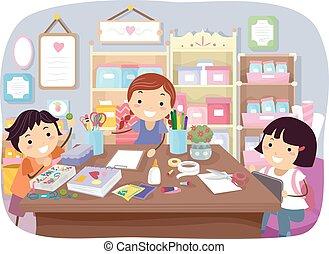 sala, crianças, arte, stickman