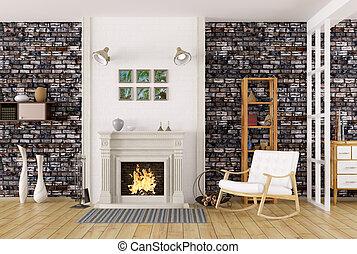 sala de estar, fazendo, interior, lareira, 3d