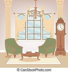 sala de estar, furniture., clássicas, room., vindima, ilustração, vetorial, chandelier., interior., interior, lar, style., retro