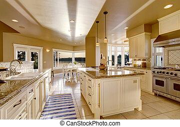 sala, ilha, contador, topos, grande, cores, bege, luxo, granito, cozinha