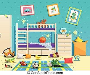 sala, interior, sujo, crianças