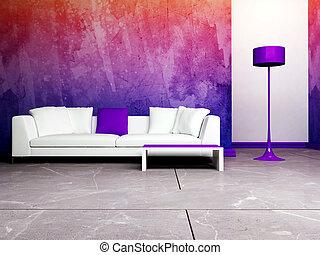 sala, interior, vivendo, desenho, modernos