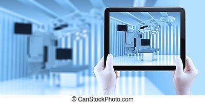 sala, médico, modernos, dispositivos, equipamento, operando