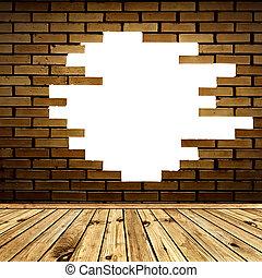 sala, parede, tijolo, quebrada