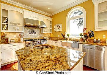 sala, topos, amarela, luminoso, granito, cozinha