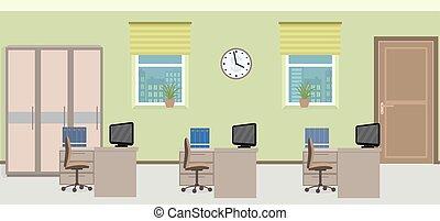 sala, trabalho escritório, três, espaços, incluindo, interior, furniture.
